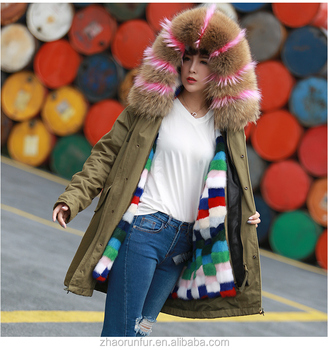 real sexy women mink fur lined parka coat