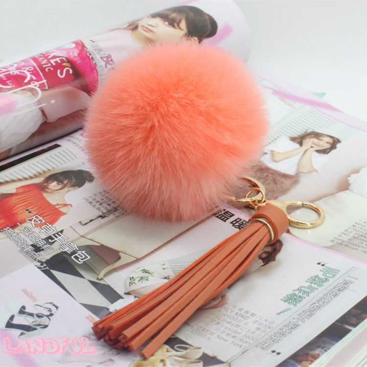 8CM Faux Fake Rabbit Fur Fluffy Car Pom Pom Tassels Keychain Mint Color China Llaveros Pompom Bag Charm Promotional Gift