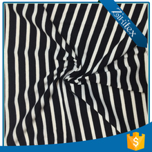 New Popular black white striped satin t shirt fabric