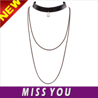 European and American original single multi-layer pearl necklace simple PU leather collar short necklace clavicle
