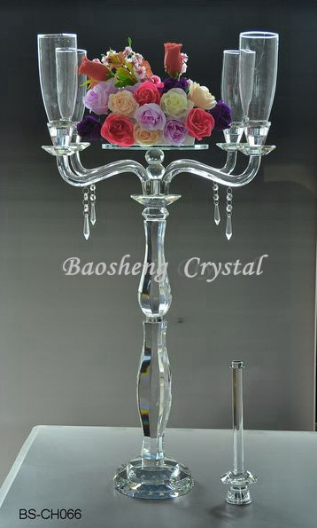 Cheap and Hot! Latest Double-use 5 Arms Tall Crystal Candelabras For Weddings (BS-CH 065)