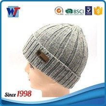 Wholesale cheap slouchy cuff custom cashmere beanie hats with leather patch