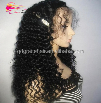 Hot sale tight curly color #1 brazilian human hair full lace wig