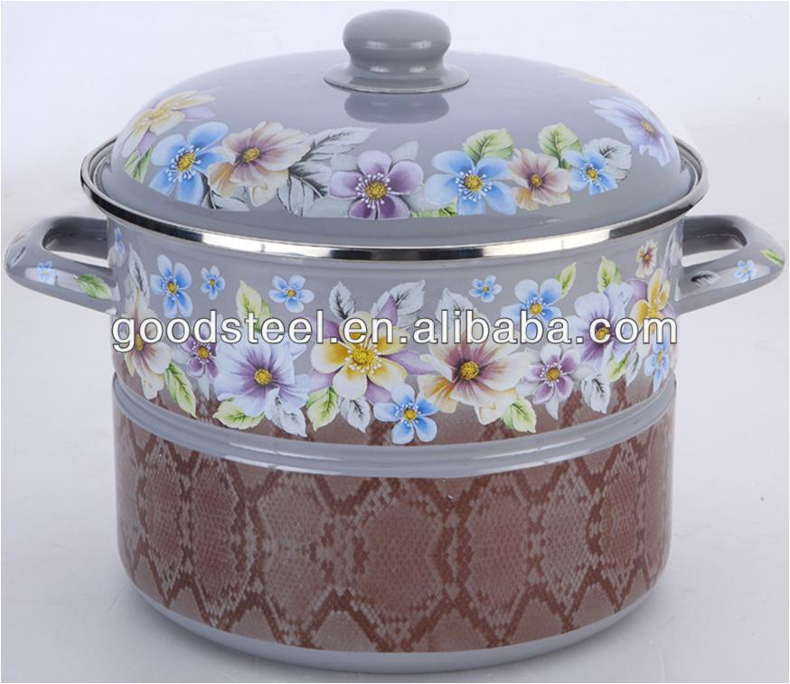 New Design Enamel Hign Pot /Enamel Cookware/Carbon Steel Cookware With Decal