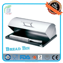 Modern Design Metal Rolltop Bread Storage Box with Rubber Wood Base