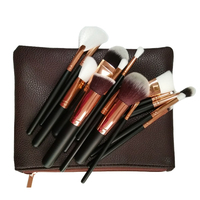 Free shipping Stock No Logo High end 15pcs black rose gold cosmetic tools match Zipper bag