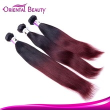 1b 99j ombre red wine color durable virgin human remy hair bundles Peruvian hair weaves straight weft