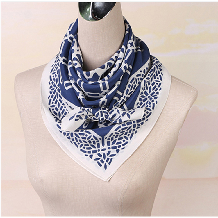 Stock blue elegant woman scarf printed square cdc scarf silk