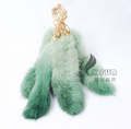 CX-R-39D Fashion Dip Dyed Girls Wholesale Real Rabbit Fur Key Chain Fur
