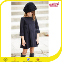 New fashion girl navy blue pleated frock design girl dress 4 years with three quarter sleeve