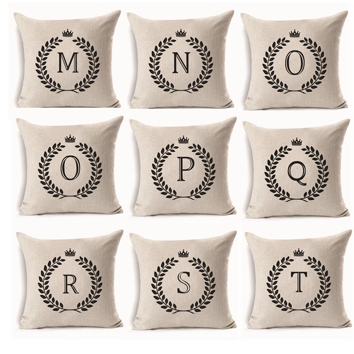 "26 Letters 18""X18"" Cotton Linen Home Sofa Chair Car Bed Decor Throw Pillow Case Alphabet Series Cushion Cover"