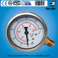 63mm diameter 100 psi liquid manometer with glycerine filled for working temp from -5 to 80 deg C