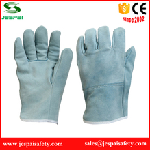 10 inches light blue split sleeve grain goatskin leather driving work gloves
