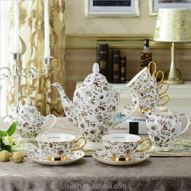 Fine bone china with golden line: 15 pcs tea/coffee serving set, European style flower ceramic coffee cup turkish tea set