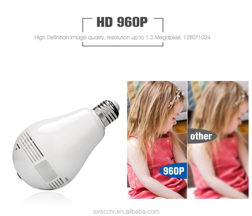 New 360 Degree Fisheye Bulb Camera Wifi IP Panoramic 960P 1.3MP