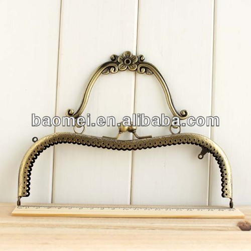 20cm Antique Large Bags Purse Metal Frame Kiss Clasp