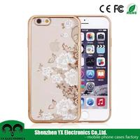 fancy beautiful flower crystal stone mobile phone cover for iphone 6 case 6s