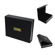 Elegant black cardboard gift packaging paper box logo printing brand name gift packaging box