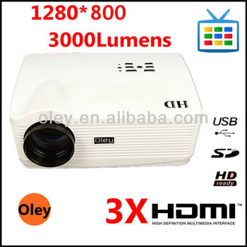 led beamer led projector with 3 hdmi support full hd 1080p, 1280*800, 3000 Lumens can use for iphone ipad