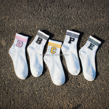 Harajuku Style Cotton Casual Two Lines Figure Short Couple Sox