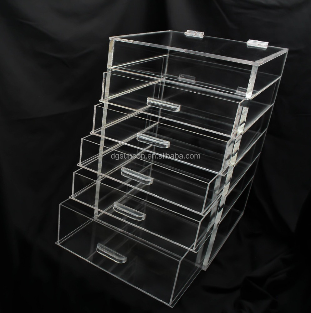2015 New arrival 6 drawer acrylic makeup organizer/acrylic cosmetic display/acrylic cosmetic organizer