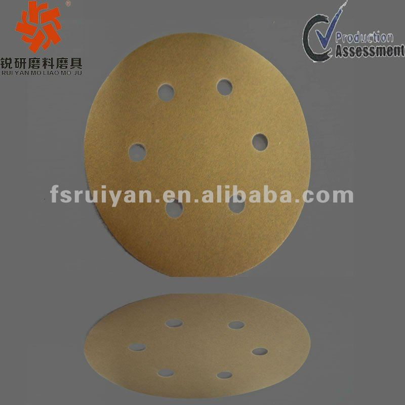Flexible abrasive backing sanding pad/disc with six holes for paint surface