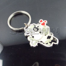 bulk custom fancy connecting metal shaped key ring /keychain