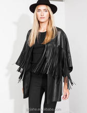 New 2015 fashion fringe black hollow out women long PU leather jackets and coats
