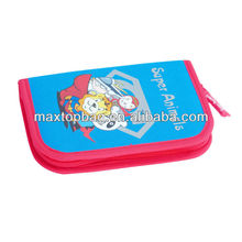 Classic pencil case for boys, 600D/PVC, double layers, elastic loops inside