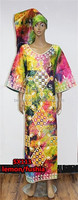 Hot sale new dress african dresses for women sexy african printed dresses SX113 lemongreen/fushia