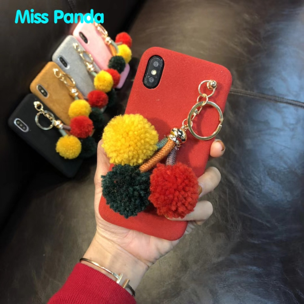 Suede Flocking PC surface ethnic style With Tricolor balls bracelet Girl phone case For Iphone X