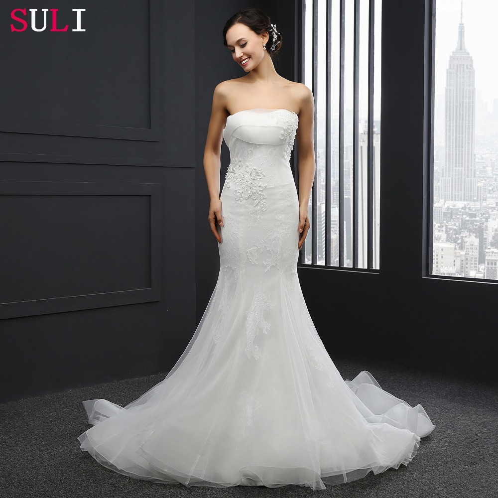 Sl 036 real sale mermaid wedding dress strapless sequins for True mermaid wedding dresses