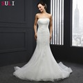 SL-036 Real Sale Mermaid Wedding Dress Strapless Sequins Bride Dresses Tulle 2016
