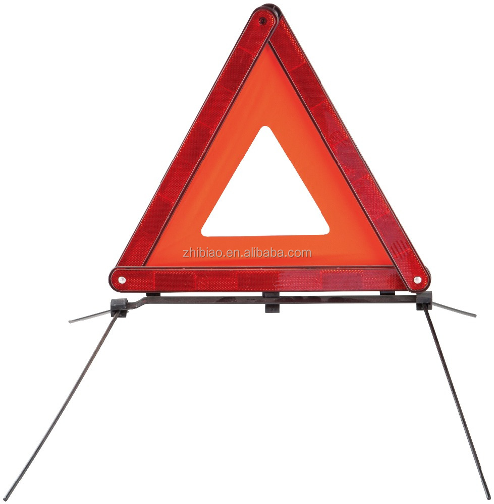 red plastic high light warning triangle with E-MARK