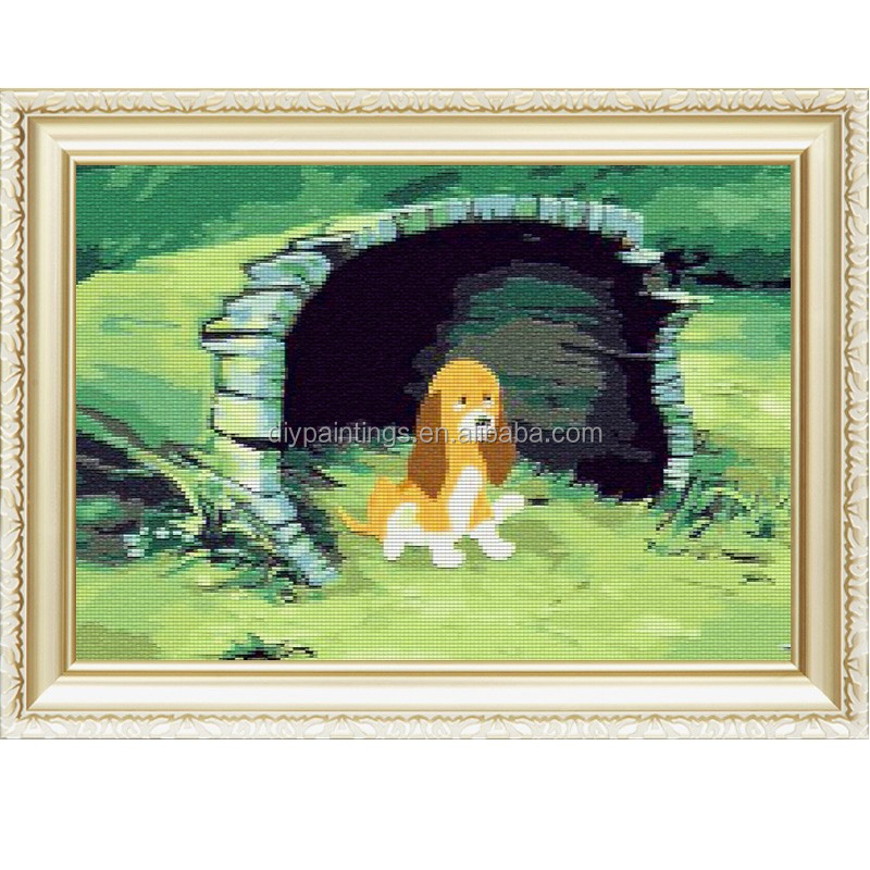 little dog get lost handmade wholesales diy 5d diamond embroidery painting kit canvas wall picture for home &garden 40*50cm a127