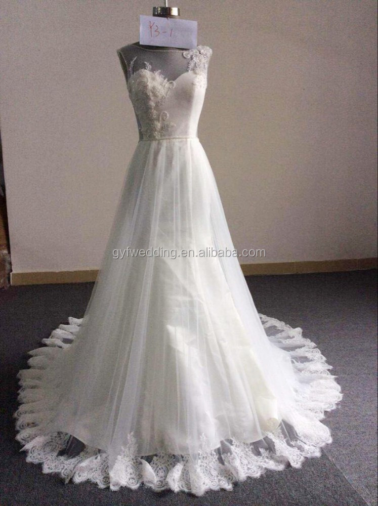 Gorgeous A-Line Beads Lace Sleeveless Sweetheart Neck See Through Back Floor-Length Wedding Dress Long Train 2016 Y3-1