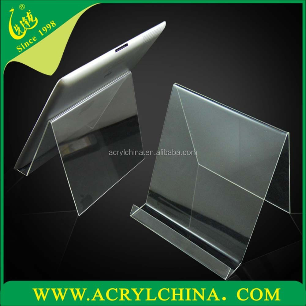 clear PMMA pad display stand for pad shop, hot sell perspex pad display stand with hot-bend forming