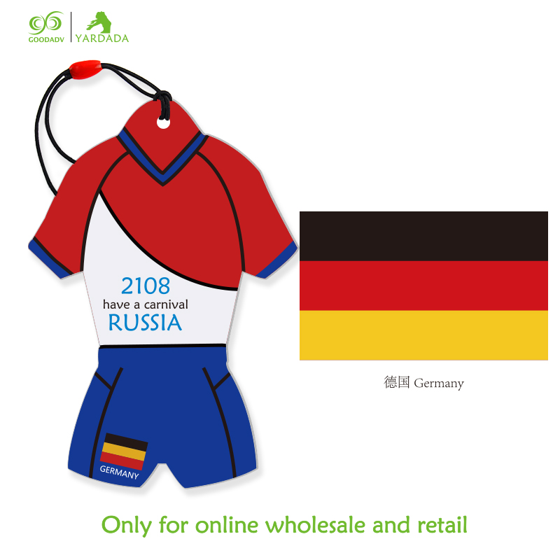 2018 football cup Germany national flag jersey air freshener, suspended car perfume, high quality 8 lasting fragrance in stock