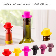 Hot! Keep Fresh Anti-dust Cowboy Hat Shape Silicone Rubber Wine Bottle Stopper Glass Wine Stopper Wine Cork Stopper