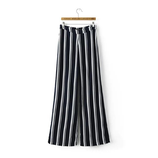 New arrived Korea style casual high waist pleated stripe new style ladies' pants