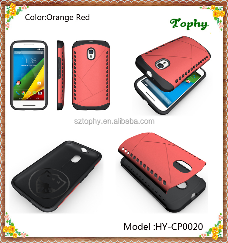 Factory Wholesale 2 in 1 Hybrid Combo Shockproof Mobile Phone Shield Case Back Cover for Motorola Moto G3