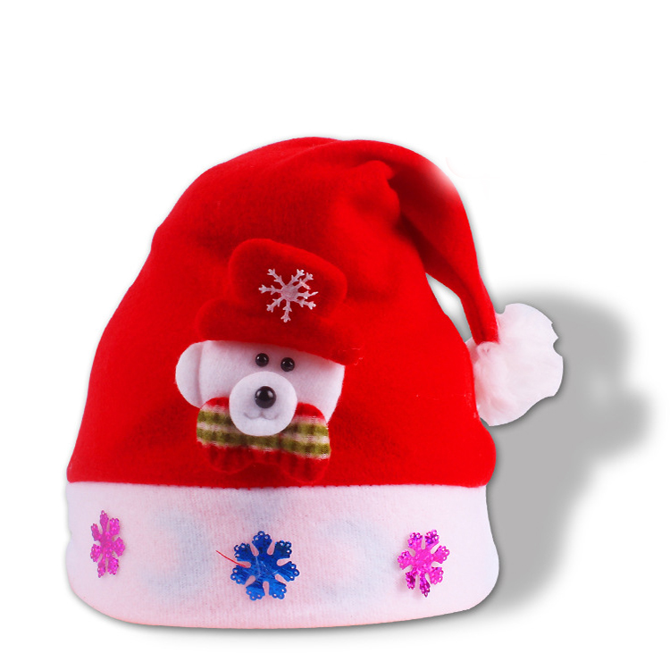 2017 New Arrival Christmas Santa Hats For Children Flash Cap Lovely Christmas Hat With Light