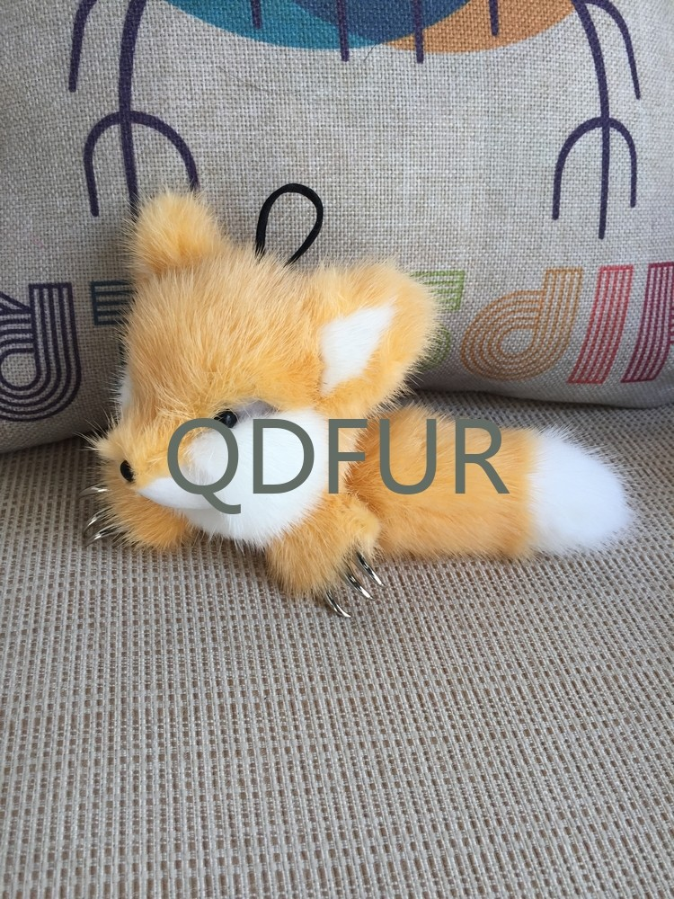 QD80937 Fashion Fox Toys Made Of 100% Real Mink Fur China Factory Supplies