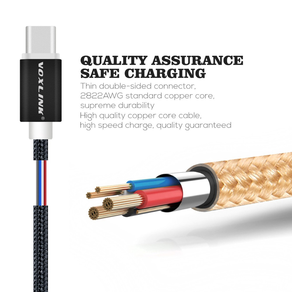 Voxlink USB3.0 Type c Cable for MacBook Chomebook letv Oneplus type-c wire fast Charge usb 2 usb3.0 cable USB type-C cable 1m 2m