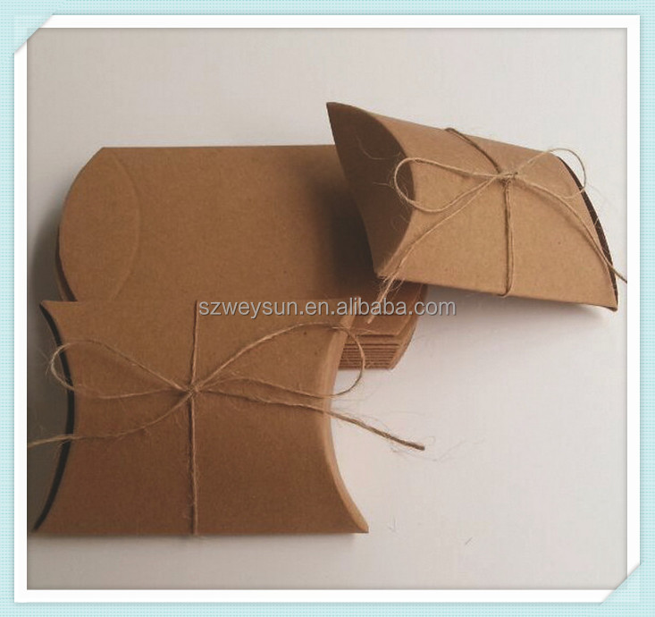 Cake Bakery Brown Kraft Paper Party Box Snack Biscuit Retro Craft Paper Pillow Shaped Packing Boxes