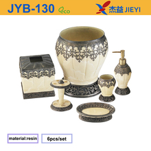 Faux Marble 6-Piece white and matt bronze polyresin Bath Accessories Set factory price