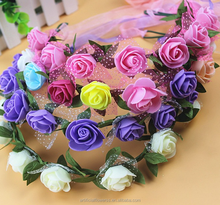 colorful rose lace headwear and ribbon wreath