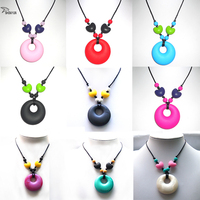 FDA Baby Nursing Jewelry Teardrop Pendant for Mom 100% Food Grade Silicone Teething Pendant Soft Necklace Toys for Chew BPA Free