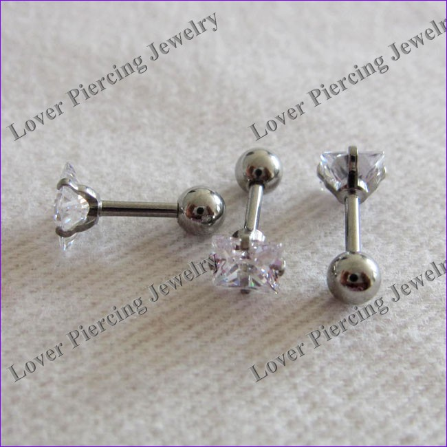 Square Zircon Top Design Stainless Steel Unique Cartilage Tragus Studs Barbells Body Piercing Jewelry [ET-123]