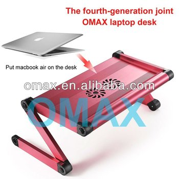 Aluminium alloy adjustable angle and height portable computer table with cooling fans